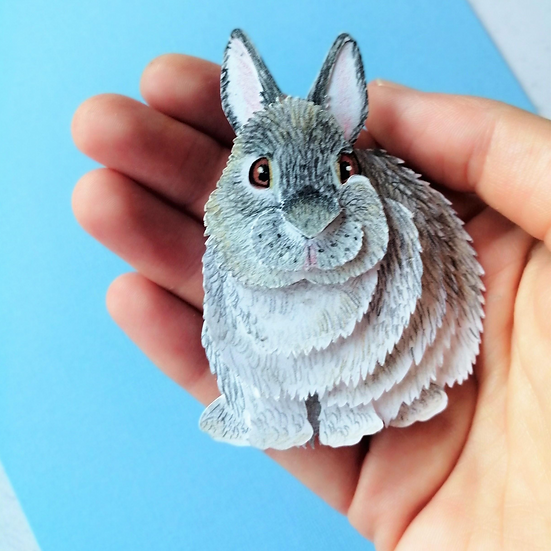 Miniature Rabbit Pet Portrait 3D Art