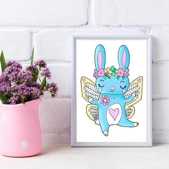 Cute Rabbit Wall Art Print