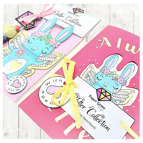Rabbit Bookmark and Notebook Sketchbook Set