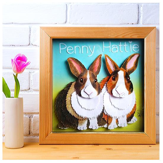Custom Rabbit Pet Portrait 3D Art