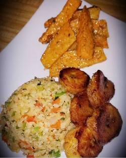 Honey glazed plantains,cauliflower rice