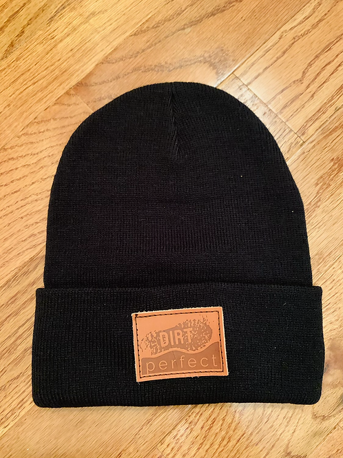 Leather patch Dirt Perfect winter beanie