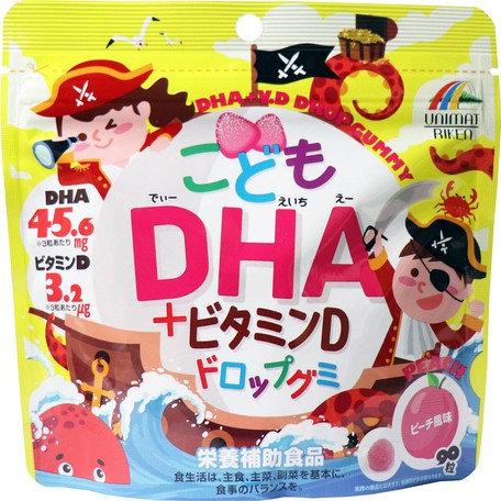 DHA + Vitamin D Drop Gummy For Kids Peach Flavor 90P