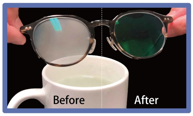 LIQUID_hack Anti Fog Eyeglass Lens Cleaning cloth before_after