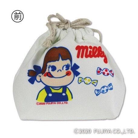 Fujiya Peko Reversible Drawstring bag -White