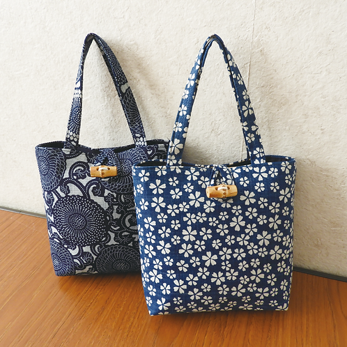 DENTRA Japanese traditional fabric mini tote bag - Bushu