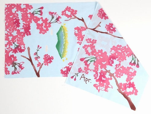 DENTRA Japanese hand towel - April cherry blossoms on window sill