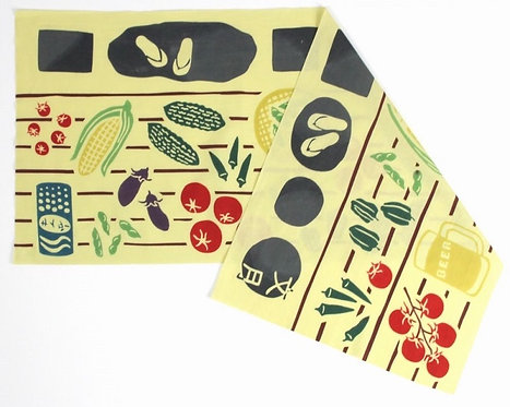 DENTRA Japanese hand towel - July Summer vegetables on the porch