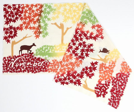 DENTRA Japanese hand towel - November autumn leaves and deer