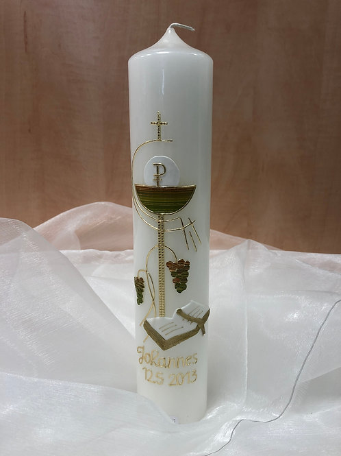 "Kerze ""Kommunion Kreuz Gold 2"""
