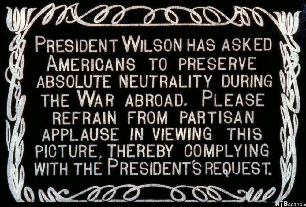 An announcement that was screened in a cinema asking Americans to not show preferential support for any side during a news segment, so as to preserve neutrality