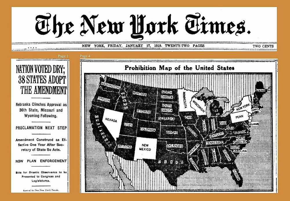 Museum cut outs of The New York Times of 17-1-1919 showing Prohibition was passed by a majority of US states