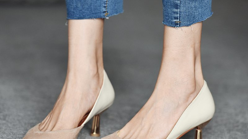 Two Toned  Patchwork Pump