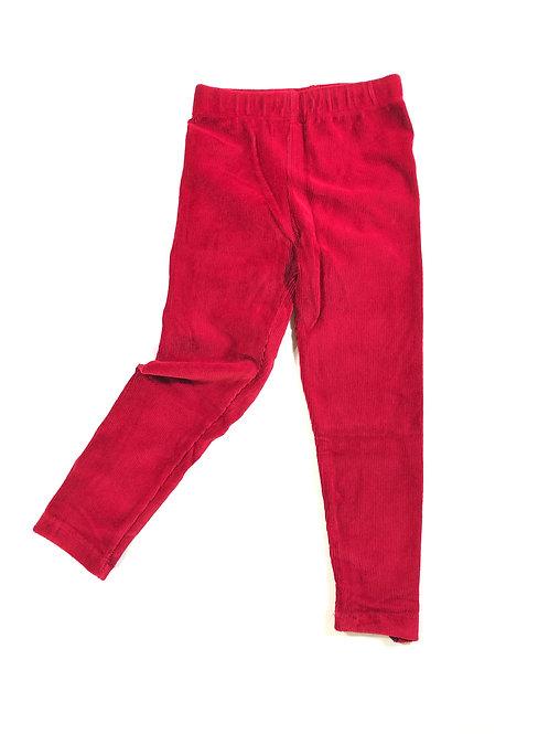Ribfluweel legging rood