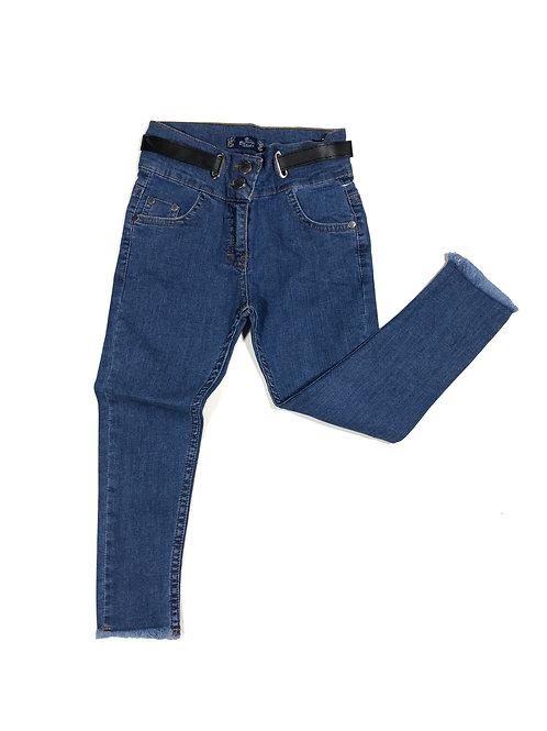 Jeans met rafels en riem