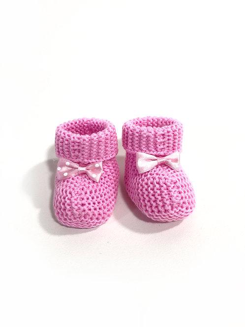 Babyslofjes gebreid, donker roze