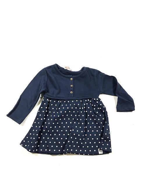 Donkerblauwe jurk met stippen
