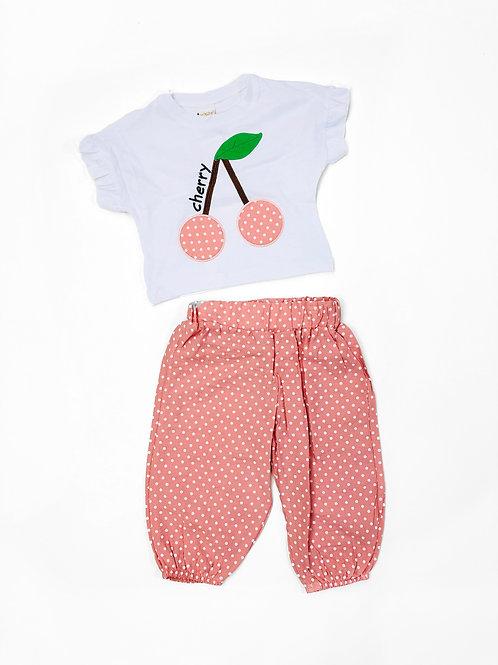 Cherry dot set, peach