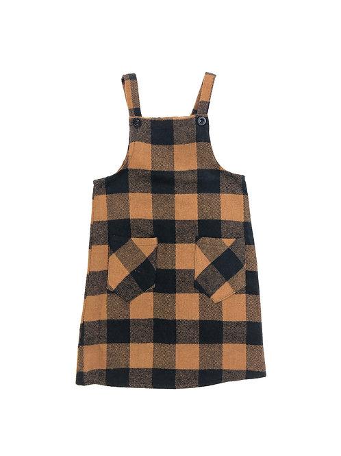 Overall dress bruin geblokt