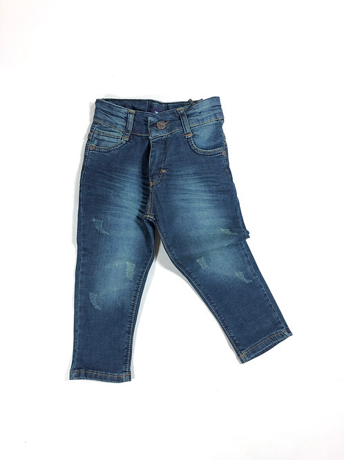 Skinny jeans donkerblauw distressed