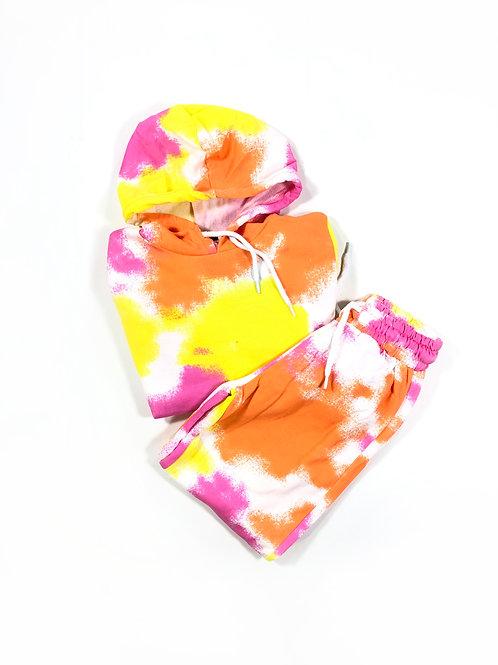 Set jogging tie dye oranje/ geel / roze
