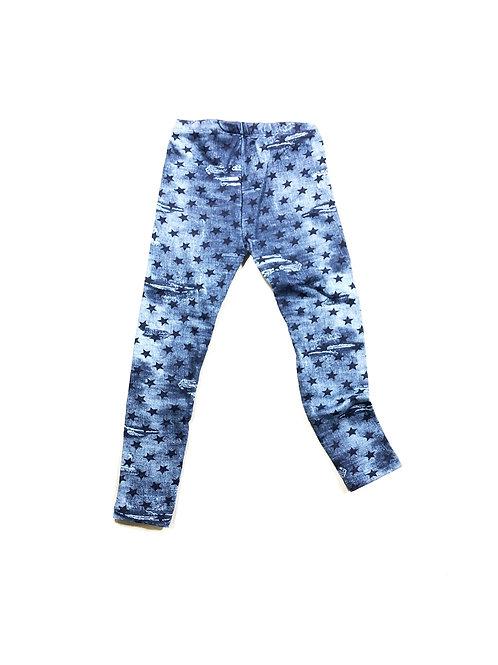 Jeans legging distressed met sterren