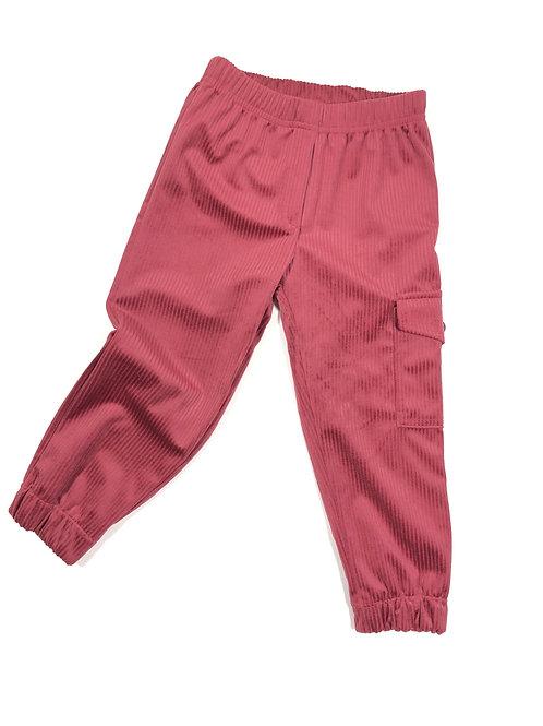 Ribfluwelen cargo broek, Roze