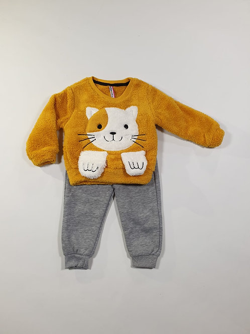 Set fluffy cat geel