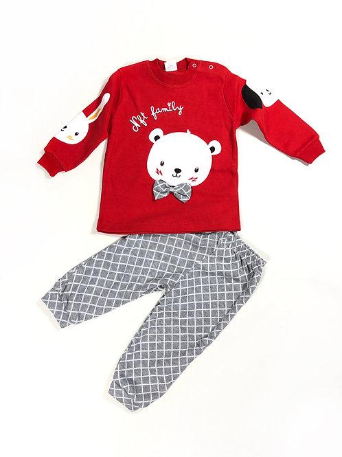 Pyjama set diertjes rood