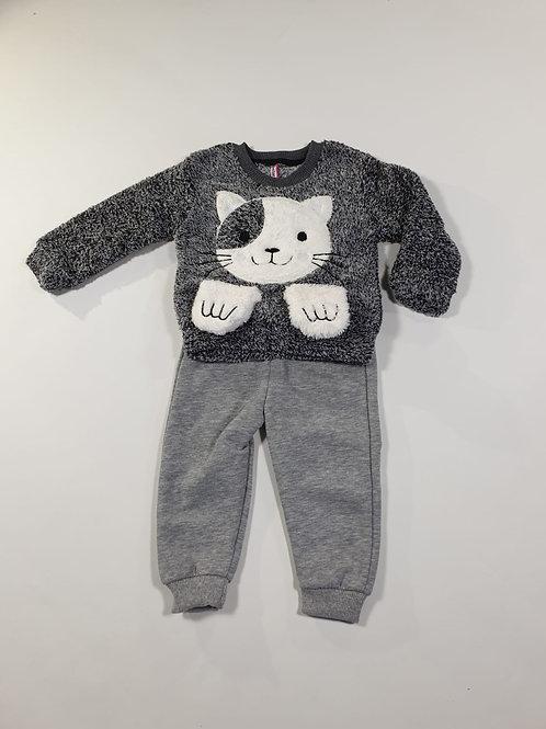 Set fluffy cat grijs