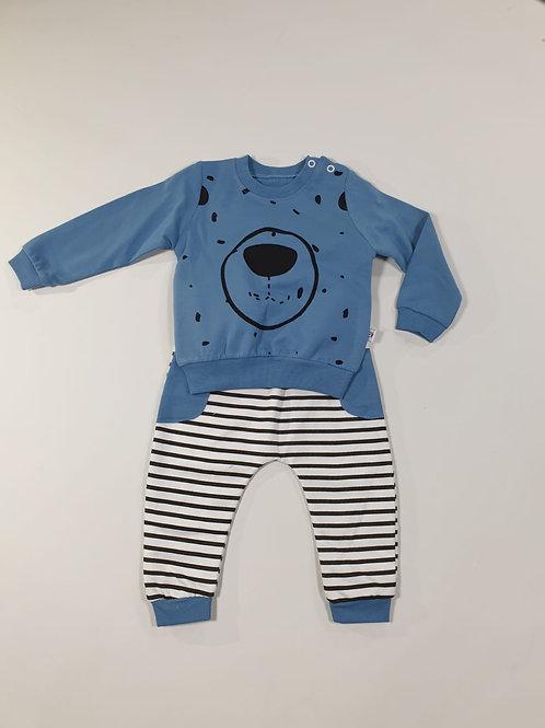 Set beer blauw met strepen