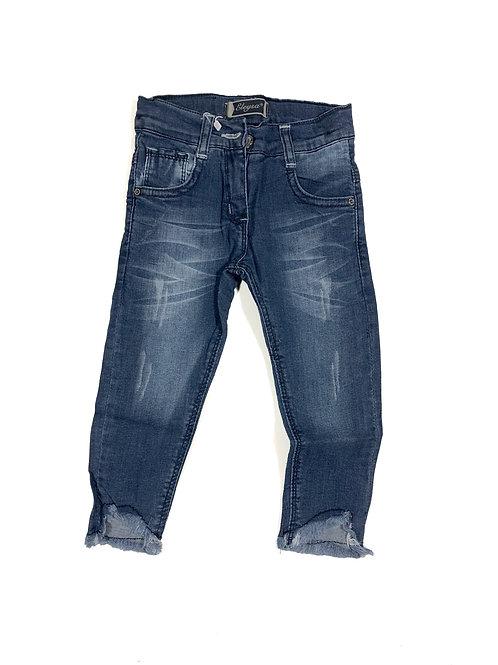 Skinny jeans rafels medium blauw