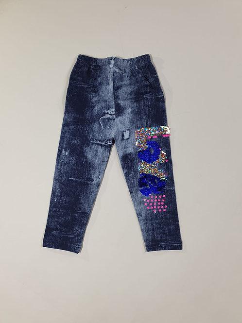 Legging jeans pailletten