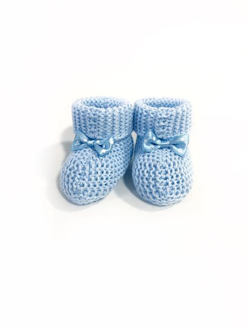 Babyslofjes gebreid, Blauw