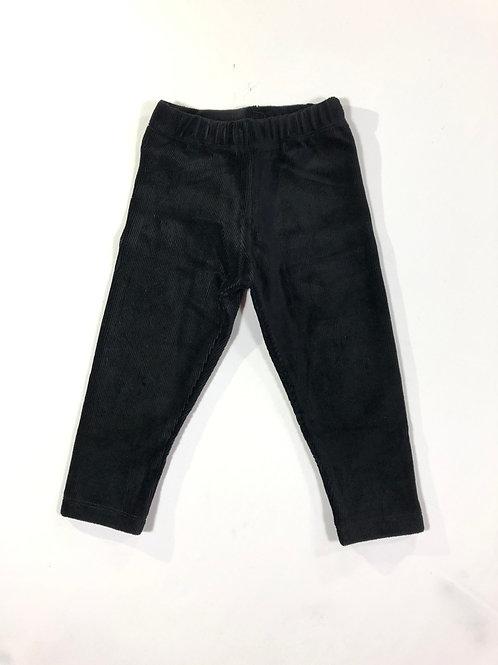 Ribfluweel legging zwart