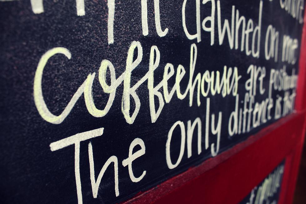 Coffee house written in chalk