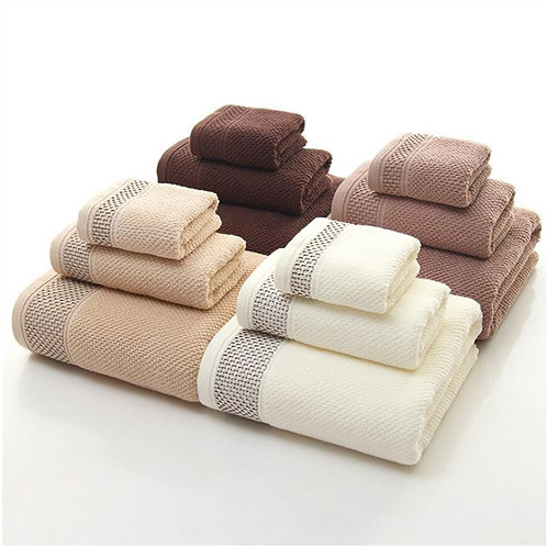 High-Grade -100% Cotton Towels 3Pcs Luxury Hotel & Spa Quality Bath Towels