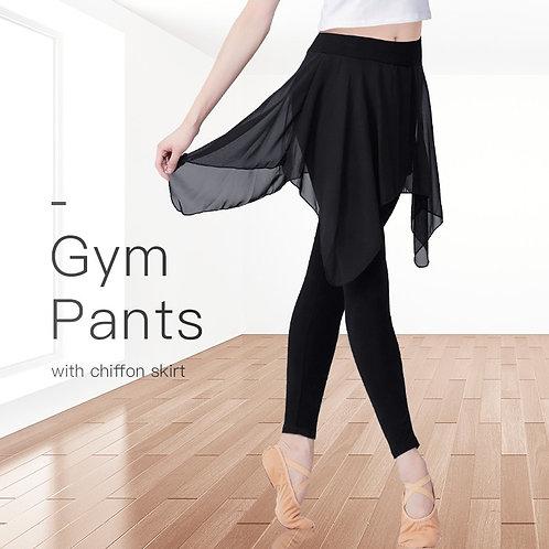 New Women Sport Yoga Leggings Pants With Chiffon Skirt