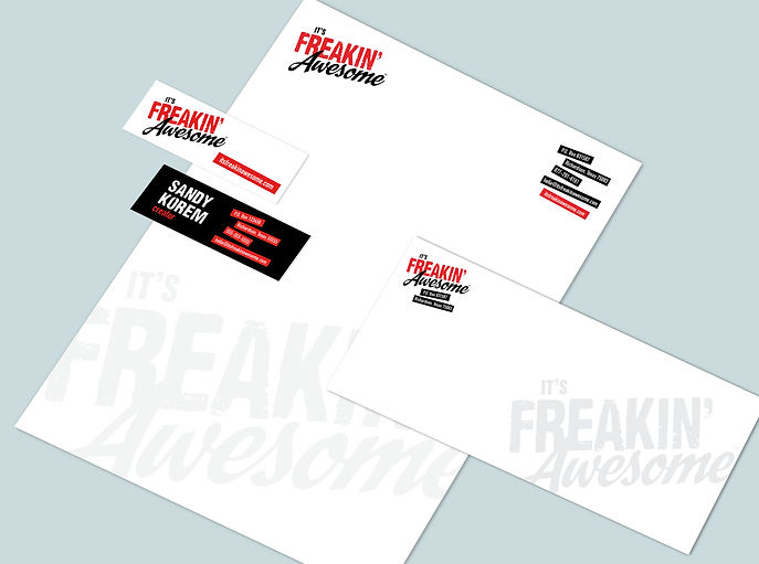it's freakin' awesome, business card, letterhead, business envelope