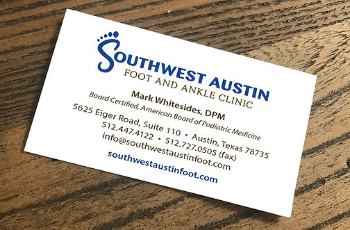 southwest austin foot and ankle clinic, business card