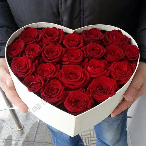 Коробка сердце 21 роза