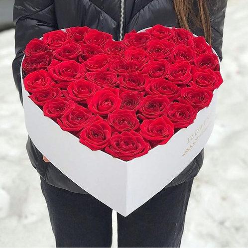 Коробка сердце 41 роза