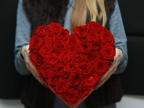 Коробка сердце 31 роза