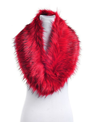FAUX RACCOON FUR COLLAR RED