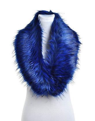 FAUX RACCOON FUR COLLAR NAVY/BLUE