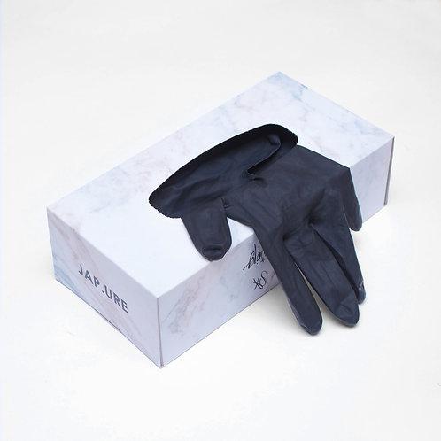 BLACK SKINNY GLOVES - S / черные латексные неопудренные перчатки