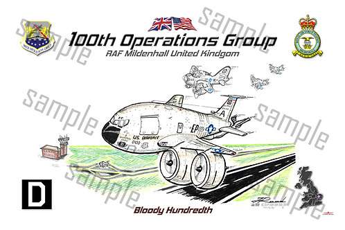 """100th Operations Group """"FLY BY"""" KC-135 Lithograph"""