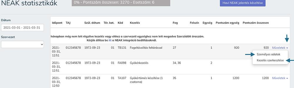 A Cloudent Fogászati Szoftveren belüli NEAK statisztikák menüpontban is lehetséges a hibalista javítások.