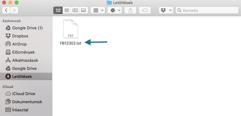 A NEAK jelentéshez egy txt. fájl letöltése szükséges.