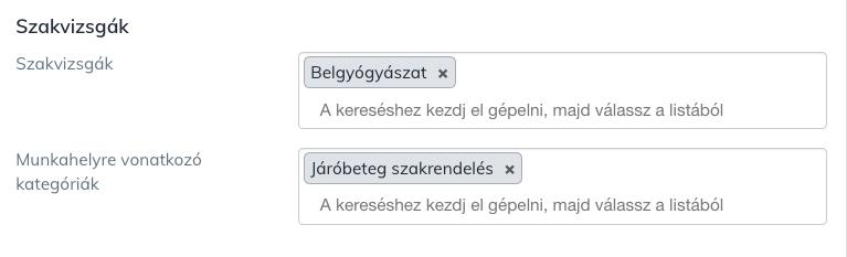 A felhasználók profiljában fontos a szakvizsgák megadása.